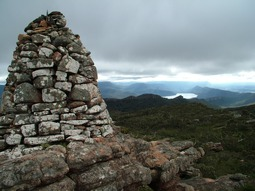 Historic Summit Cairn on Redman Bluff, above Grampians Paradise Camping and Caravan Parkland.