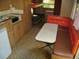 Kitchen in Emu, our 1970's retro onsite caravan at Grampians Paradise Camping and Caravan Parkland